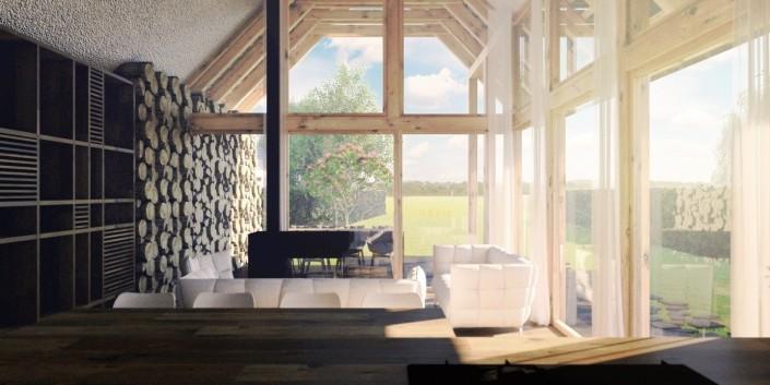 Interiér víkendového domu Bodíky- Architektonická štúdia